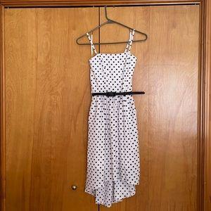 White polka dot belted dress